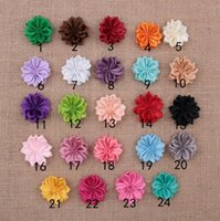 Wholesale Sewing Center - 3.5CM Handmade Satin Ribbon Flower Sew Center Fabric Flowers Head Apparel Shoes Accessories YH471