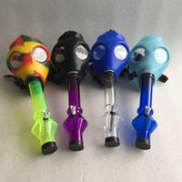 Wholesale Tabacco Bongs - Silicone Mask Creative Acrylic Smoking Pipe Gas Mask Pipes Acrylic Bongs Tabacco Shisha Pipe water pipe Free Shipping