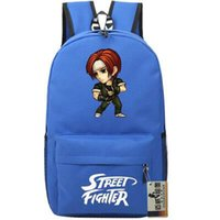 Wholesale Iori King Fighters - Blue The king of fighter backpack Street daypack Terry Iori Yagami schoolbag Kyo Kusanagi rucksack Sport school bag Outdoor day pack