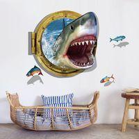 için sualtı duvar resimleri toptan satış-0809 Sualtı Köpekbalığı Duvar Sticker Ocean View Balıklar Duvar Kağıdı 3D Pencere Duvar Sticker Çocuk Odası için