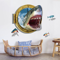 3d habitación ver al por mayor-0809 Underwater Shark Wall Sticker Vista al Mar Fishes Mural Wallpaper 3D Etiqueta de la pared de la ventana para la habitación de los niños
