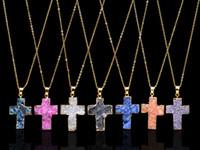 Wholesale Crosses For Necklaces Wholesale - 2017 Hot Items Cross Natural Quartz Druzy Necklaces 7 Colors for sale for Wemen