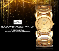 Wholesale Dresses Girlfriends - fashion charm womens watches gold silver bracelet small round dial famous brand Hollow bangle lady dress quartz watch girlfriend gift box