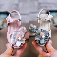 Wholesale Straps For Footwear - children's beading flower shoes for kid girl ankle sandals child casual performance pink beige footwear summer walking toddler for princess