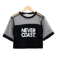 Wholesale See Clothes - Wholesale- Sexy Women Loose Crop Top Crew Neck Short Sleeve T-Shirt See-through Blusas Clothes