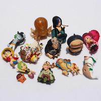 figuras de una pieza de helicóptero al por mayor-12 unids / set One Piece Luffy Chopper Perona Shyarly Keim PVC Doll Figuras de Acción Juguetes Sin Base Envío Gratis