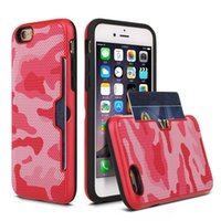 Wholesale Metal Wire Cover Iphone - For iphone 8 7 case 6 6S Plus 6G cell phone covers 2 in 1 colorful metal wire-drawing Insert card protective phone case