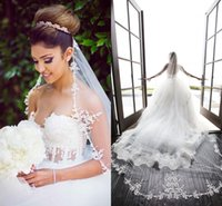 Wholesale Long Bridal Veil Beaded Lace - Newest Lace Wedding Veil Applique Edge Tulle Net White Ivory Cathedral Bridal Veil Hair Pieces Beaded Veil 3m Long Veil