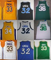Wholesale Tiger Sleeveless Shirt - Throwback The Big Shaq Shaquille O'Neal Basketball Jerseys LSU Tigers College Stitched Jerseys Cole High School Green O Neal Shirts