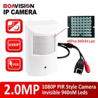 Wholesale Ip Camera Motion Detector - PIR Style Motion Detector 25fps HD H.264 1080P IP Camera With PoE 940nm Leds Nightvision 2MP Onvif& P2P View Security Camera