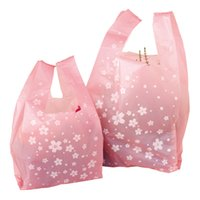 Wholesale T Shirt Shopping Bags Wholesale - 100 Cherry Print Design Plastic t shirt bag Retail Shopping Bags Handles SSN-017