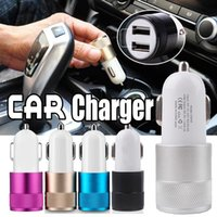 Wholesale 12 Volt Car Plug - Metal Car Charger Travel Adapter 2 Ports Colorful Micro USB Car Plug 12 Volt   1 ~ 2 Amp USB Adapter For iPhone X 8 7 Plus Samsung Note 8 S8