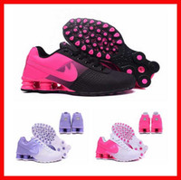 Wholesale Crystal Flat Dress Shoes - woman shox deliver NZ R4 top designs for women basketball running dress sneakers sport lady crystal lace flat casual shoes best sale online