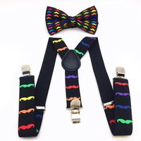 Wholesale Bowtie Suspenders - Wholesale- Moustache Patt Kids Suspenders & Bowtie Set Adjustable Braces Elastic Y-back For Baby Boys Girls Suspenders And Bow Tie Tirantes