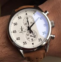 Wholesale New Gent - NEW ARRIVAL Carrea Calibre 1887 SpaceX Chrono Flyback Stopwatch White Dial Brown Leather Belt Mens Watches Sports Gent Watch VK Chronograph