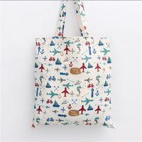 Wholesale Eco Reusable Shopping Bags Shoulder - Wholesale- YILE Handmade Cotton Linen Eco Reusable Shopping Shoulder Bag Tote Plane Fighting L053