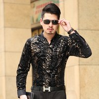 Wholesale Men S Slim Formal Shirts - Wholesale- Men's Shirt Long Sleeve Male Business Casual Velvet Fashion Formal Men Dress Shirts For Man Slim Masculina Camisa