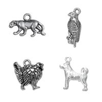 Wholesale Eagles Charms - Silver Plated Cute Turkey Cheetah Eagle Dog Animals Charms Zinc Alloy Pendant Diy Handmade Jewelry