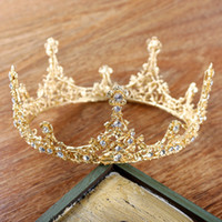 Wholesale Large Tiara Crown - Baroque Vintage king Large Gold Color Crystal Full Round Prom King Crown Wedding Pageant Queen Tiara Bridal Hair Jewelry Diadem