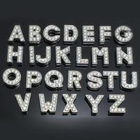 letras del perro del diamante artificial al por mayor-260 unids / lote DIY letras de diapositivas A-Z con incrustaciones de diamantes de imitación para collares de gato de perro mascota con barra deslizante