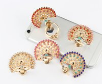 Universal 360 Degree Peacock Crystal Finger Ring Holder Phone Stand para iPhone Samsung Huawei Telemóveis