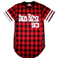 t-shirt à fermeture à glissière hommes achat en gros de-Vente en gros- Dem Boyz 93 T Shirt Hommes Vêtements à carreaux rouges Fermeture à glissière latérale élargie T-shirt Streetwear Kanye West Hip Hop T-shirt