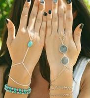 Wholesale Gold Slave Bracelets - Wholesale-Celebrity Multi Chain Hand Slave Boho Turquoise Bead Tassel Bracelet Bangle Slave Finger Set Hand Harness Fashion