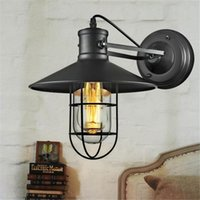 Vintage spray process - Village Retro wall Lights American Country Style Corridor Balcony Loft Lamp Iron Spray Painting Process Glass Lamp Shade
