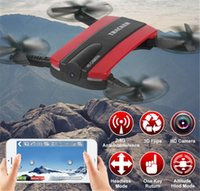 Wholesale Jxd Wifi - JXD 523 Tracker Selfie Drone Altitude Hold Foldable JXD523 Mini RC Quadcopter WIFI FPV Camera Helicopter Headless VS H37