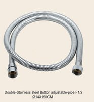 Wholesale 150cm Double Button Stainless steel adjustable pipe F1 Chrome Flexible Hose Bathroom shower Hose Water Hose TP D