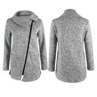 Wholesale Wholesale Winter Jackets Women - Wholesale- New Womens Winter Warm Casual Long Inclined Zipper Hooded Jacket Coat Sweatshirt Outwear Coat
