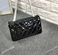 Women black patent leather bags - Original quality cm cf black patent leather single flap bag female genuine leather shoulder crossbody bag heavy chain flap bag gold hw