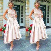 Wholesale Taffeta Jewel Tea - 2017 trendy mother of the bride dresses tea length jewel neck shiny sequined bodice taffeta skirt blush pink high low wedding dresses