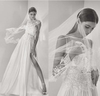 Wholesale Elie Saab Wedding Mermaid Dress - Elie Saab 2017 High Split Wedding Dresses Lace Applique Beads Sequined Chiffon Modest Plus Size Bridal Gowns