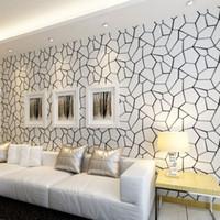 Wholesale Black White Modern Wallpaper - Black And White Geometric Non-woven Wallpaper Modern Living Room Bedroom Study Restaurant Video Wall TV Background Wallpaper 3D