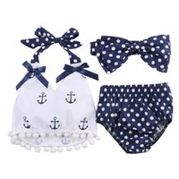 Wholesale Headband Navy - 2017 Newborn clothing outfits baby navy anchor printed tops+ polka dot pp pants+bowknot headband three piece baby girl dot swimwear 3piece