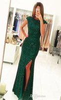 Зеленые платья Длинные вечерние платья 2017 Front Split Cap Sleeve Bling Bling Sequined Backless Formal Celebrity Party Prom Gowns Elegant E110