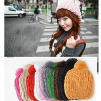 Wholesale Skull Hair Tie - Adults Wool Knitted Hats For Women Winter Keep Warm Cap With Hair Ball Acrylic Fibres Beanie Portable 4 2bd B