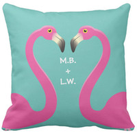 "Wholesale Turquoise Cushion Covers - Pillow Case, Monogram Kissing Flamingo Turquoise Outdoor Square Sofa and Car Cushions Cover, ""16inch 18inch 20inch"", Pack of X"
