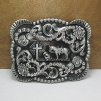 Wholesale Wholesale Pewter Crosses - BuckleHome western horse with cross belt buckle with rhinestones and pewter finish FP-03544 with continous stock free shipping