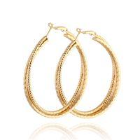 ingrosso cerchi in oro piatto-Europa moda stravagante cerchio piatto orecchini a cerchio grande 18 k rosa giallo oro bianco placcato orecchino per donna gioielli partito ER-942