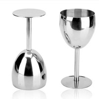 Wholesale Metal Wine Stand - 14cm Stainless Steel Standing Cup 180ML Red Wine Juice Beer Advanced Metal Glass Goblet Anti-broken Bar Party Fashion Drinking Ware