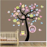 ingrosso stanza dei bambini della scuola materna del gufo-New Owl Bird Swing Wall Stickers Albero per bambini Camere Bambini Baby Nursery Camere Home Decor