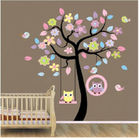 Wholesale owl stickers for nursery - New Owl Bird Swing Wall Stickers Tree For Kids Rooms Children Baby Nursery Rooms Home Decor