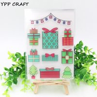 Vente en gros - YPP CRAFT 1 feuille Transparent Clear Silicone Stamps for DIY Scrapbooking / Card Making / Kids Fun Decoration Supplies Christmas Gift