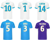 Wholesale Samba Shirts - 17 18 Olympique de Marseille Soccer Jerseys 2017 2018 Home White Away Blue 3RD Purple Football Shirts PAYET SAMBA CLINTON Sportswears