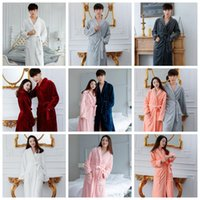 Wholesale Coral Fleece Bathrobe Wholesale - Fleece Warm Bathrobe Women Men Coral Soft Flannel Winter Kimono Bath Robe Night Gown Spa Wear 11 Colors OOA3114