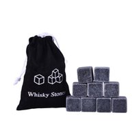 Wholesale Wholesale Bar Ice Buckets - Factory Direct Sale 100% Natural Whiskey Stones 9pcs Set Sipping Ice Cube Whisky Stone Whisky Rock Cooler Wedding Gift Favor Christmas Bar