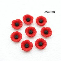 Wholesale Resin Flower Embellishments - 200pcs Chic Resin Red Poppy Flower Artificial Flower Flatback Embellishment Cabochons Cap for home decor 19mm