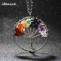 Collier De Copeaux En Gros Pas Cher-Vente en gros - 2016 Fashion Quartz Chips Pendant Necklace Rainbow 7 Chakra Amethyst Tree Of Life Collier de pierre naturelle WisdomTree